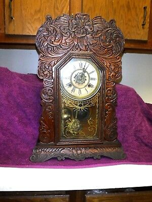 antique ingraham oak mantle clock original