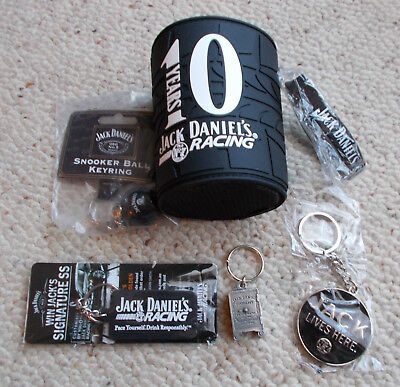Jack Daniel's Keyrings   & 10 Years Racing stubby holder  & Wristband - All New
