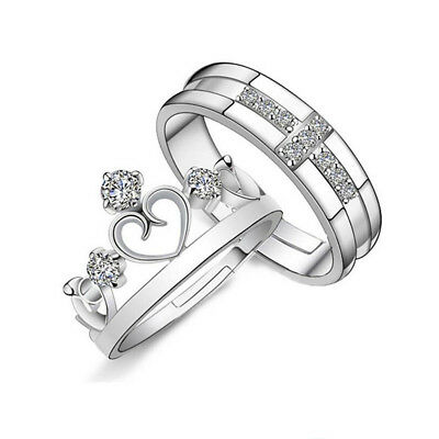 Crystal Crown Cross Silver Couple Love Rings Wedding Band Promise Ring Queen