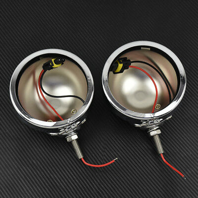 "2x 4.5"" Housing Fog Lights Mounting Bracket For Harley Touring Softail Chrome"
