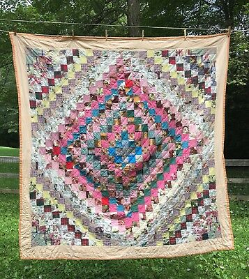 """Antique Vintage Hand Stitched Patchwork Quilt ~69"""" x 69"""" ~Peach Boarder~Amish PA"""
