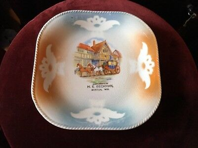 Vintage Advertising Ceramic Plate Complimentary H.E. Beckman Merton Wis.