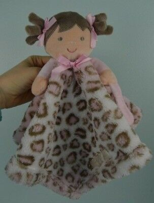 Blankets & Beyond Baby Doll Lovey Pink Brown White Leopard Cheetah Print Animal