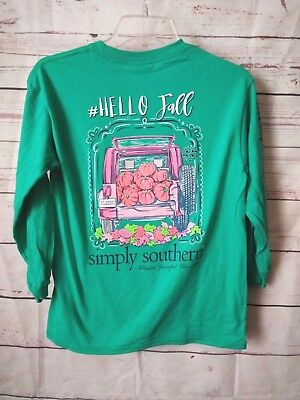 """NWT Simply Southern """"Hello Fall"""" Youth Sz. Large Long Sleeve T-Shirt- READ AD"""
