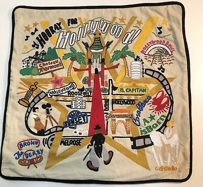 CatStudio Hollywood Hand Embroidered Pillow Case 2015 EUC!
