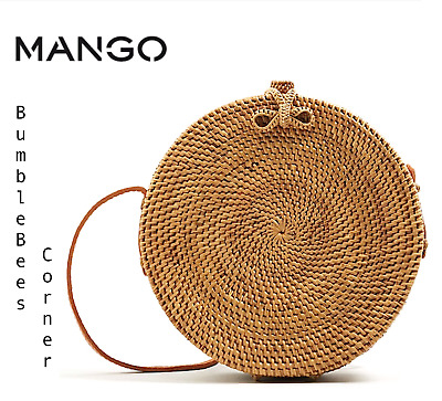 MANGO Coffer Bag BRAIDED BAMBOO WICKER Straw Weave LIMITED ED Woven HandBag NWT