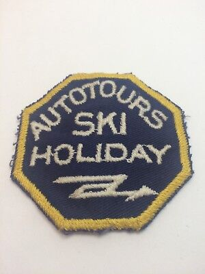 Vtg Autotours Ski Holiday Skiing Embroidered Sew On Patch Travel