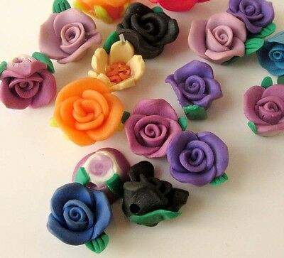 17Pcs Polymer Clay Rose Flower Beads Finding For Jewelry Making