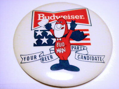 Bud Man Beer Party Candidate Pin from 70's