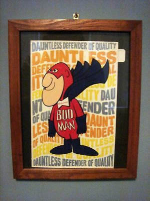 "Bud Man extra large Sticker, framed under glass 9"" x 11 1/4"""