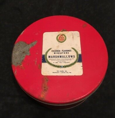 Vintage LEE Mashmallow Tin-Colored Flavored Minatures
