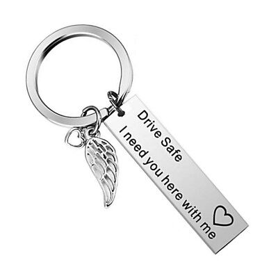 """Drive Safe I Need You Here With Me"" Alloy Couple Family Love KeyRing Chain Gift"