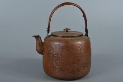 R3910: Japanese XF Old COPPER BOTTLE Teapot Dobin Flower sculpture Tea Ceremony