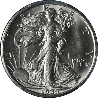1935-P Walking Liberty Half PCGS MS63 STOCK Blast White Great Eye Appeal