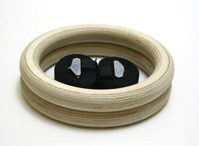 Wooden Gymnastic Olympic Rings Gym Fitness Training Exercise with Buckle Straps