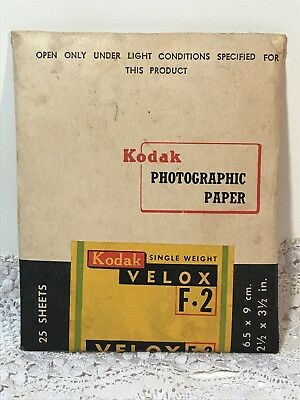 Vintage KODAK VELOX F.2 PHOTOGRAPHIC PAPER Sealed Packet of 25 Sheets 6.5 x 9cm