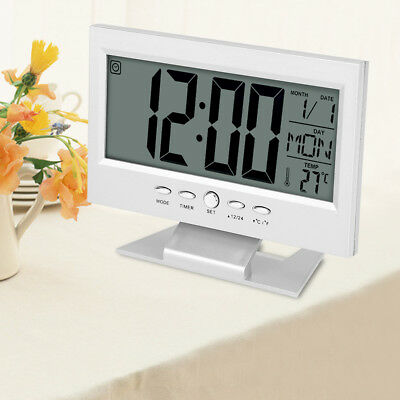 LCD Digital Reloj Despertador Sobremesa LED Luz Sensor Calendario Temperatura