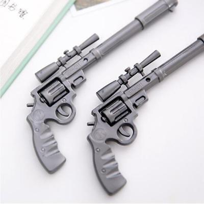 2PCS Novelty Rifle Shape Black Ink Ballpoint Pen Stationery Office Ball Point