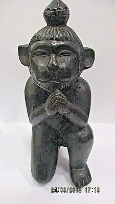 Wooden Statue monkey fist prayers pryor  Orginal rare Vintage Decorations rare