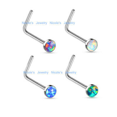20g Surgical Steel Synthetic Opal L Shape Nose Stud Bar Body Piercing Jewelry