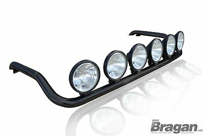 To Fit Renault Premium Front Roof Light Bar Black Steel + Round Spot Lamps