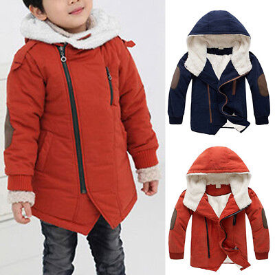 Kids Boys Cotton Jacket Hooded Fleece Lined Coats Thick Parka Outwear Jackets