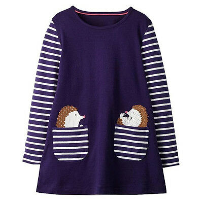 Toddler Girl Dresses Animal Appliques Baby Girl Clothes Kids Unicorn Dress