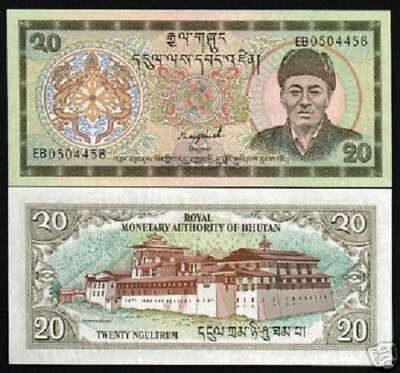 BHUTAN 20 NGULTRUM P16 1992 X 1/10 Bundle Lot KING DRAGON UNC MONEY BANK NOTE