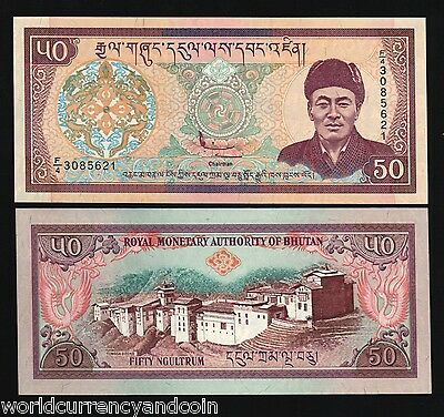 Bhutan 50 Ngultrum 2000 Millennium King Dzong Palace Unc Currency Money Banknote