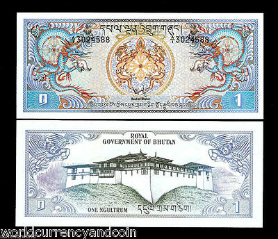 Bhutan 1 Ngultrum P5 1981 X 100 Pcs Full Bundle Dragon Large Size Unc Money Note