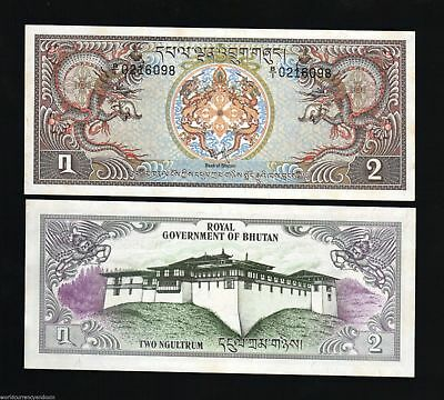 BHUTAN 2 NGULTRUM P6 1981 X 100 Pc Lot Bundle DRAGON UNC PALACE LARGE MONEY NOTE