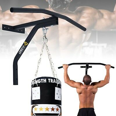 Iron Chin Up Pull Up Bar Punch Bag Bracket Home Gym Wall Mounted Fitness Boxing