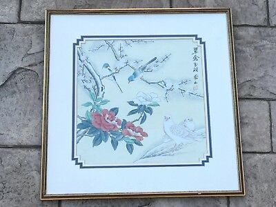 Vintage Japanese Oriental Silk Cloth Embroidered Picture Doves & Flowers Birds