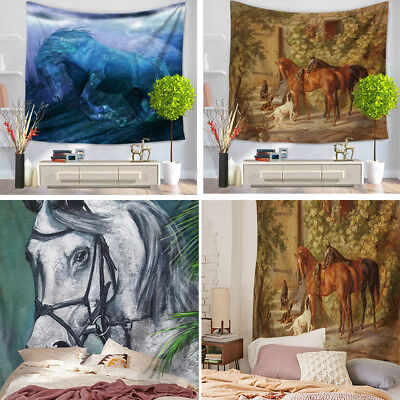 Horse Unicorn Animal Tapestry Wall Hanging Beach Blanket Polyester Decoration