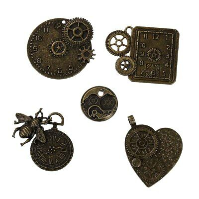 5 Antique Bronze Steampunk Watch Parts~Gears~Cogs~Clock~Bee~Pendants~Charms (8B)