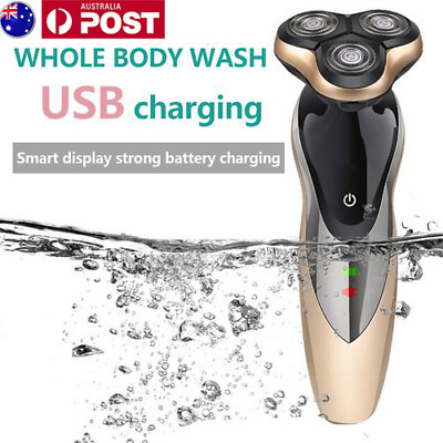 Men's Cordless Electric Shaver Razor Rotary 3D Rechargeable Washable Trimmer AU