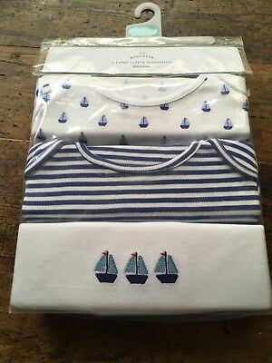 John Lewis Long Sleeved Nautical Bodysuits (Pack Of 3) New - Size 18 - 24 Months