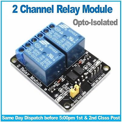 2 Channel Relay Board Module Opto-isolated for Raspberry Pi, PIC, ARM, Arduino