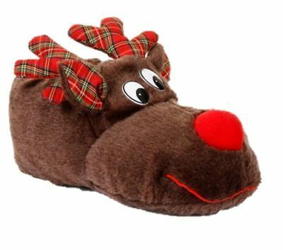 Boys Girls Reindeer Slippers Loungewear Christmas 3D Plush Novelty Gift