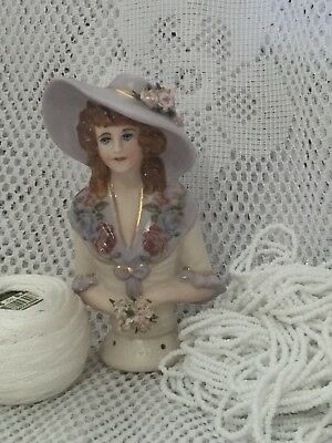 "Half Doll "" Paulette"" with cotton, beads, and FREE Pattern"