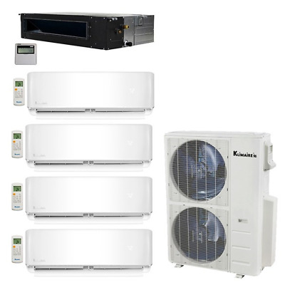 Klimaire 5-Zone 52K BTU 20 Seer 12-12-12-12K Wall 12K Ducted AC Mini Split Heat