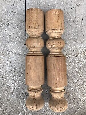 Large Thick Chunky Wood Table Leg Baluster Lot Of 2