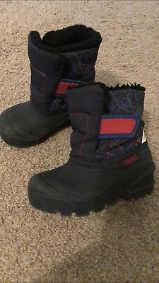 Tundra Winter Snow Blue Red toddler boy boots size 8