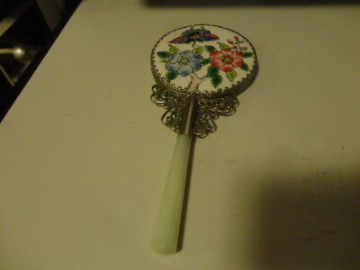 Vintage Chinese Enamel on Porcelain Backed Hand Held Mirror with Jade Handle