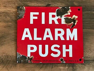 Small Vintage Fire Alarm Push Enamel Sign Industrial Salvage Dynamo Co Leicester