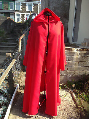 long hooded cloak with sleeves  red  (t56)