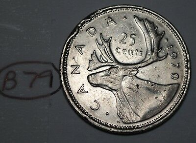 Canada 1970 25 cents Canadian Caribou Quarter Coin Lot #B79
