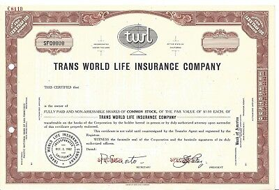 "Trans World Life Insurance Company......abn ""specimen"" Common Stock Certificate"