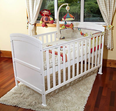 4Baby White Vienna Curved Top Cot Bed & Deluxe Maxi Air Cool Mattress From Birth