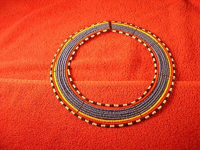Vintage African Beaded Necklace Wedding Collar Necklace Maasai Masai Style Minty
